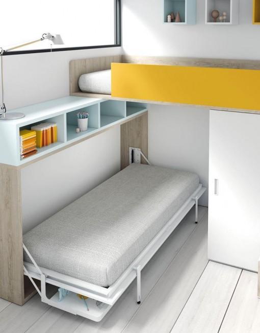 Cama abatible horizontal con mesa de estudio tmb mi hogar - Camas abatibles con mesa ...
