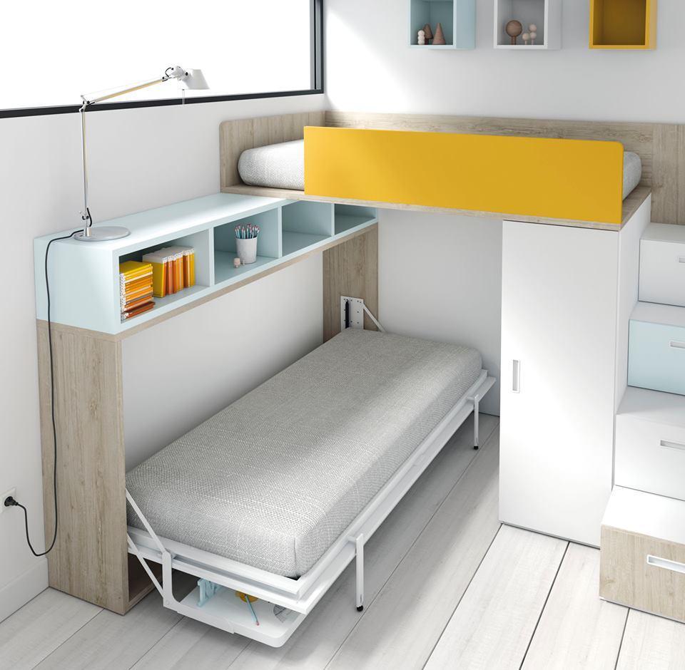 Cama abatible horizontal con mesa de estudio tmb mi hogar - Muebles con cama abatible horizontal ...