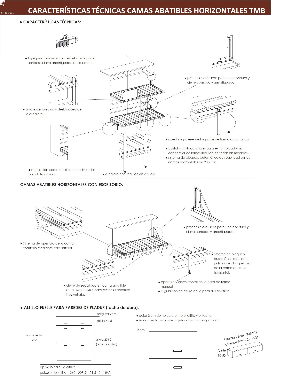 Cama abatible horizontal con o sin mesa de estudio tmb - Sistema cama abatible ...