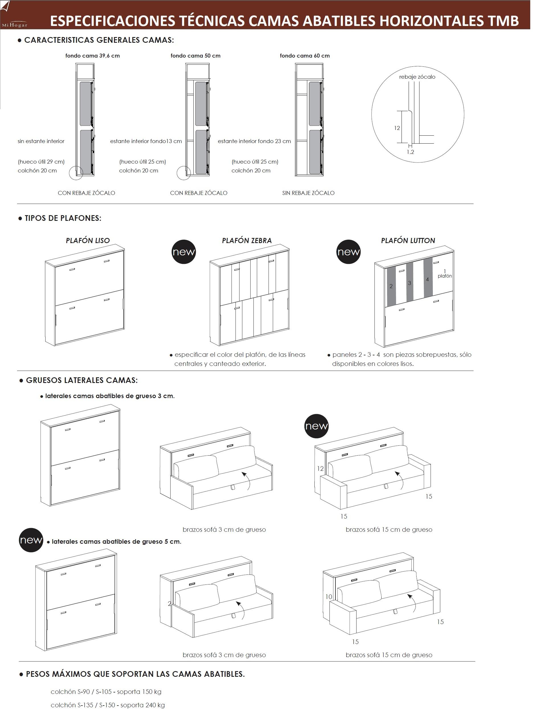 Cama abatible horizontal con armario de puertas batientes - Sistema cama abatible ...
