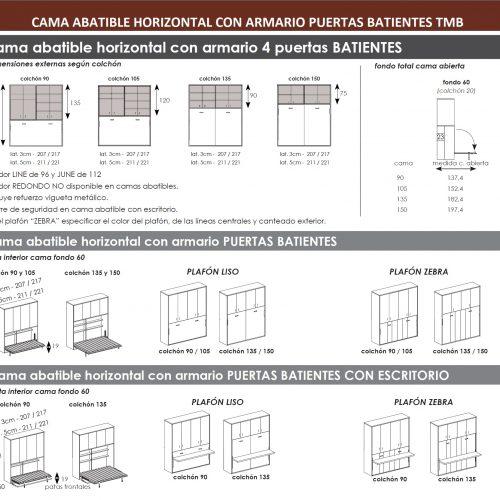 TÉCNICO CAMA ABATIBLE HORIZONTAL CON ARMARIO PUERTAS BATIENTES DORMITORIO JUVENIL TMB