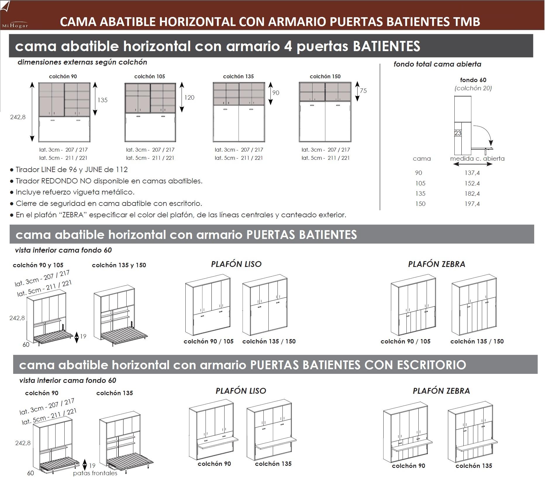 CAMA ABATIBLE HORIZONTAL CON ARMARIO DE PUERTAS BATIENTES TMB ...