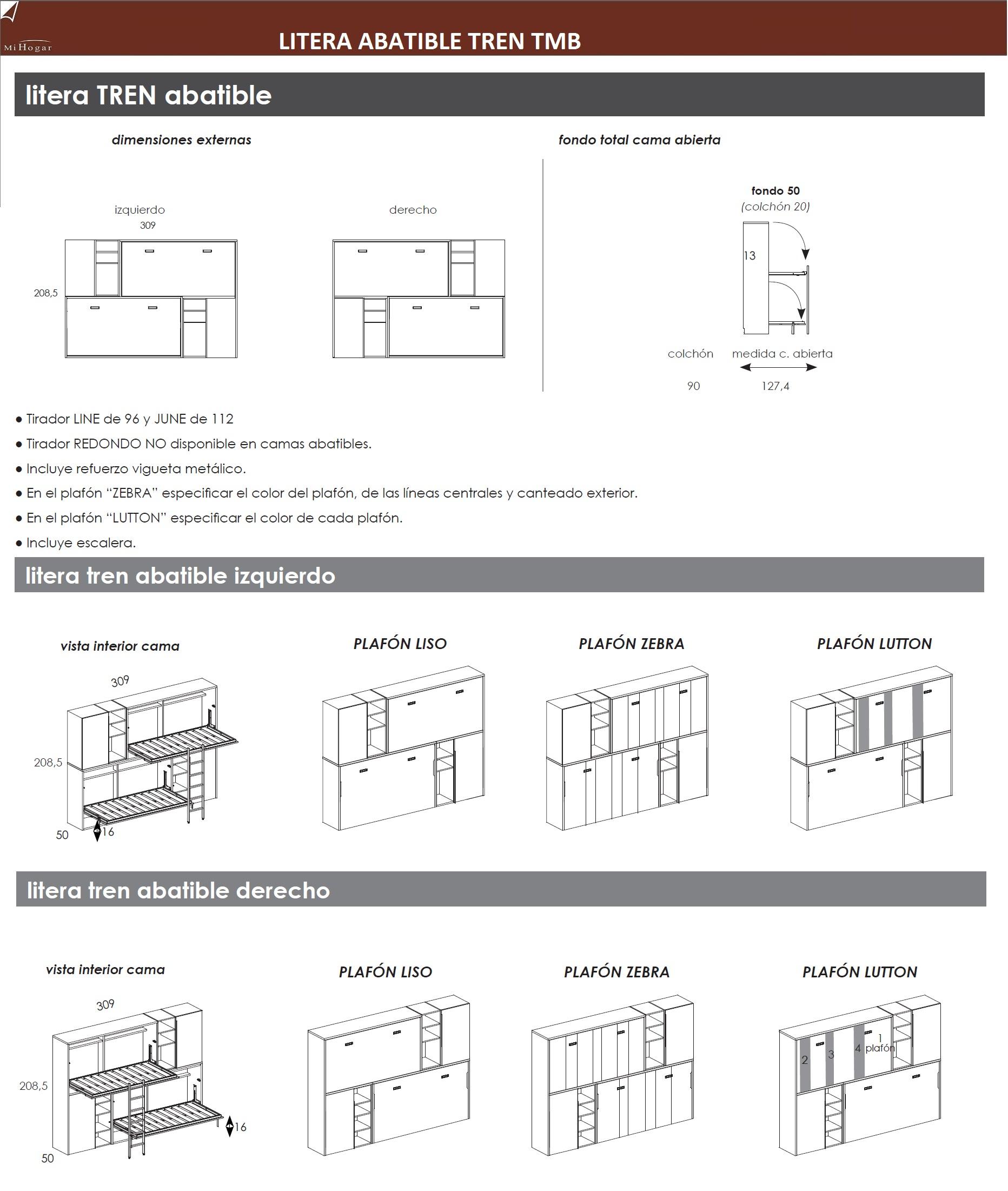 Litera abatible horizontal tmb muebles mi hogar - Literas tren medidas ...