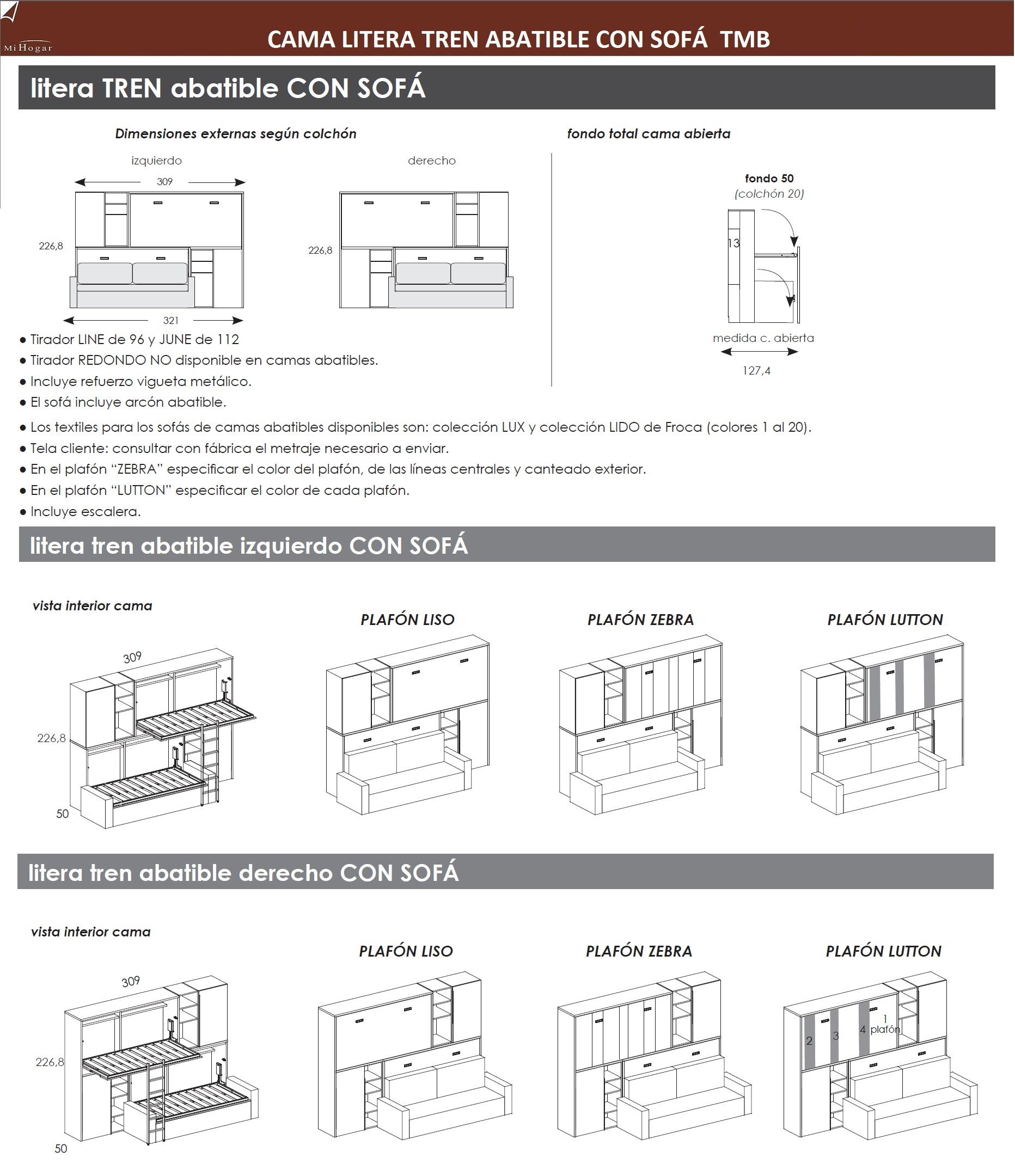 Cama abatible horizontal con sofa tmb muebles mi hogar - Literas tren medidas ...