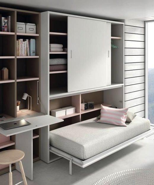 Cama abatible horizontal con estanteria y puertas gala for Mueble juvenil cama abatible
