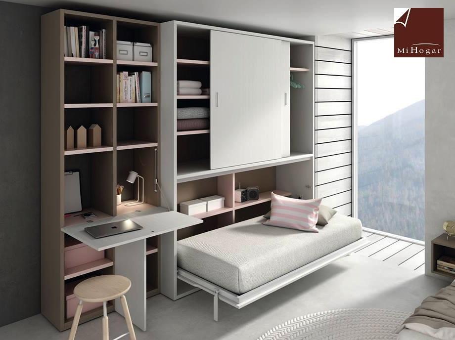 cama abatible horizontal con armario de puertas deslizantes tmb