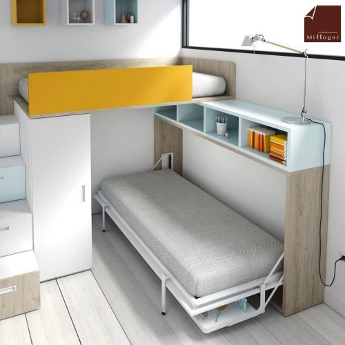 cama abatible horizontal con o sin mesa de estudio tmb