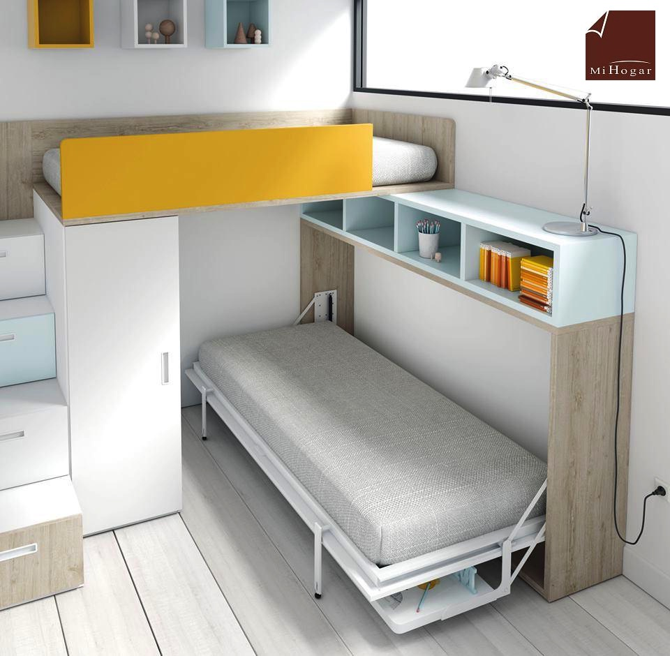Cama abatible horizontal con o sin mesa de estudio tmb - Mesa abatible de pared carrefour ...