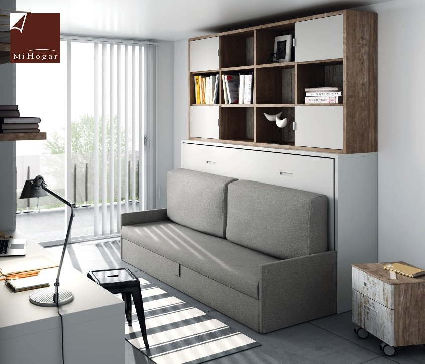 Cama abatible horizontal con sofa tmb muebles mi hogar for Mueble 3 camas
