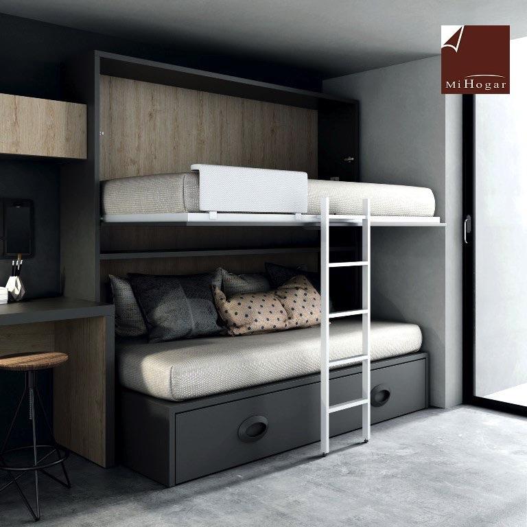 cama abatible horizontal superior con nido abajo mesa o