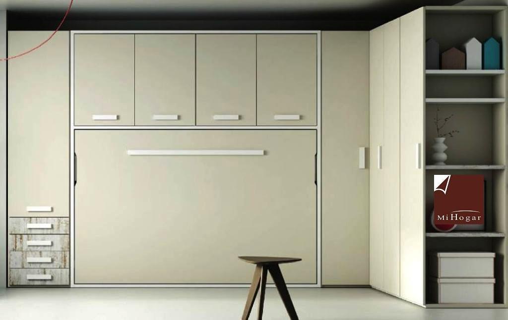Cama abatible horizontal con armario de puertas batientes tmb muebles mi hogar - Hacer una cama abatible ...
