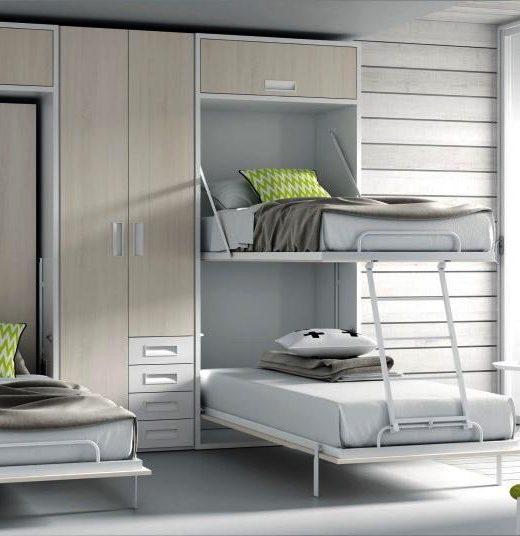 Cama abatible horizontal superior con nido abajo mesa o for Mueble litera abatible vertical