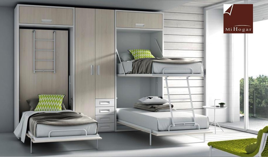 Litera abatible vertical cama tmb muebles mi hogar for Mueble juvenil cama abatible