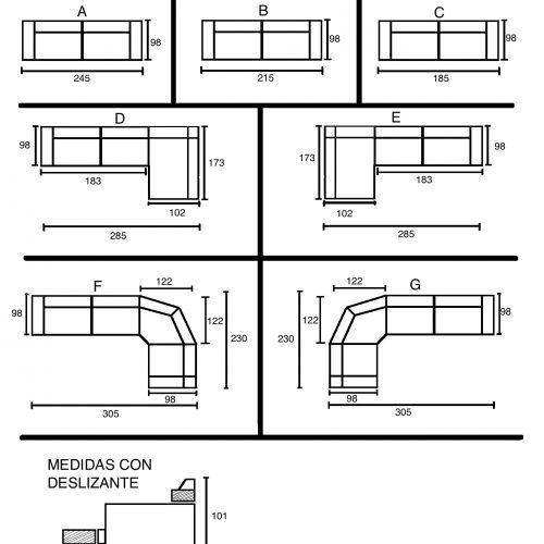 medidas sofa chaise longue rinconera palmira