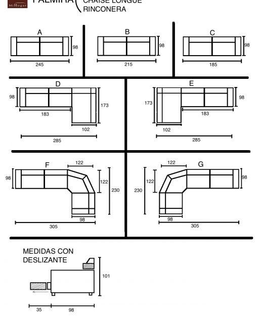 Sofa esquinero medidas home for Sofa arcon terraza