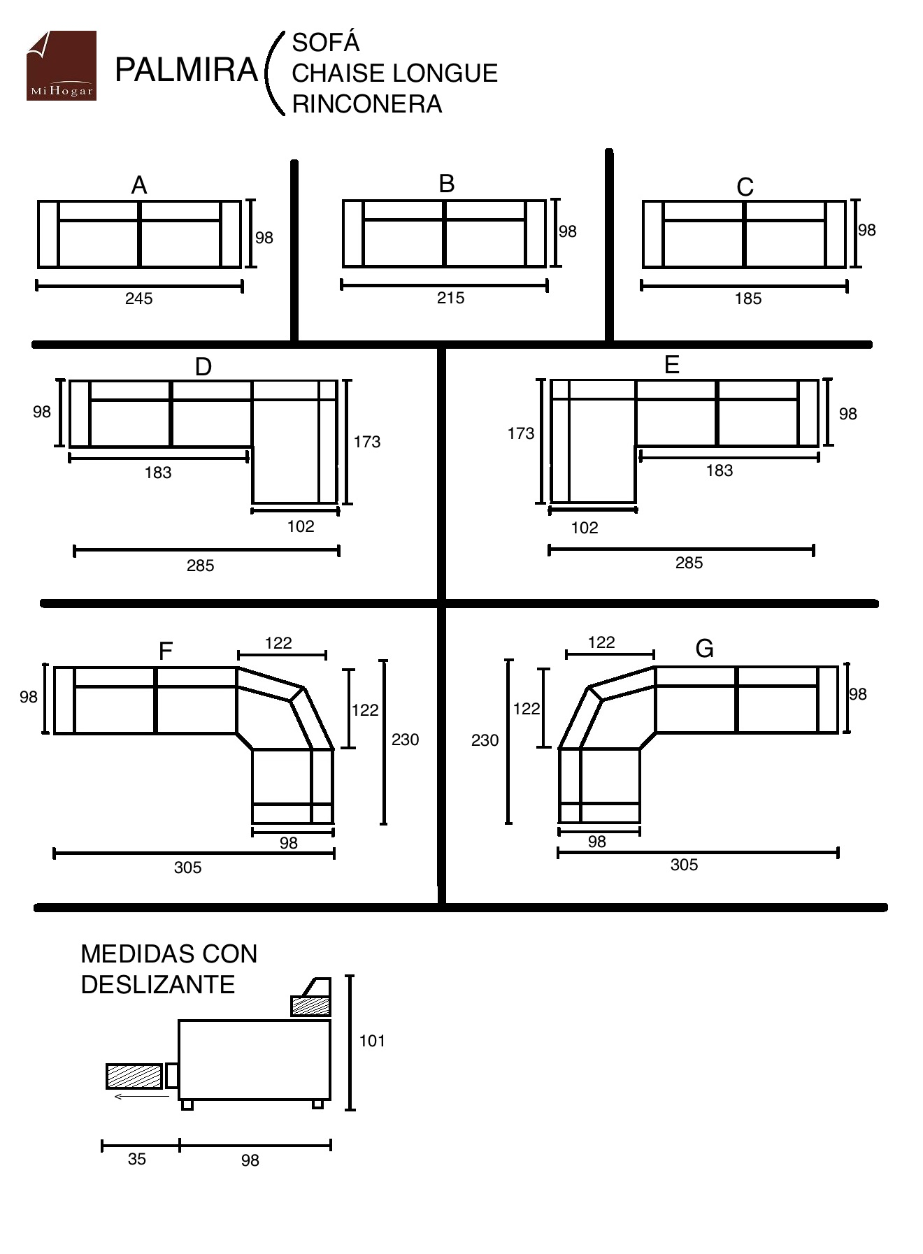 Chaise longue rinconera palmira muebles mi hogar for Medidas sofa 3 plazas