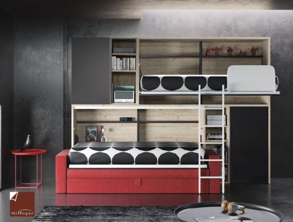 Cama abatible horizontal con sofa tmb muebles mi hogar - Literas con sofa cama ...