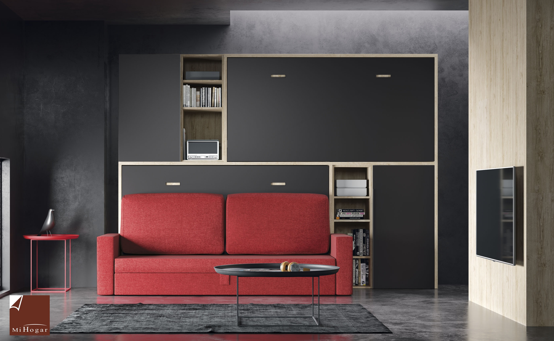 Cama abatible horizontal con sofa tmb muebles mi hogar - Habitaciones juveniles camas abatibles horizontales ...