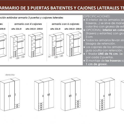 TÉCNICO ARMARIO DE TRES PUERTAS BATIENTES-CAJONES DORMITORIO JUVENIL TMB