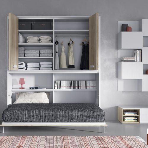 cama abatible horizontal con armario encima de puertas plegables dormitorio juvenil TMB