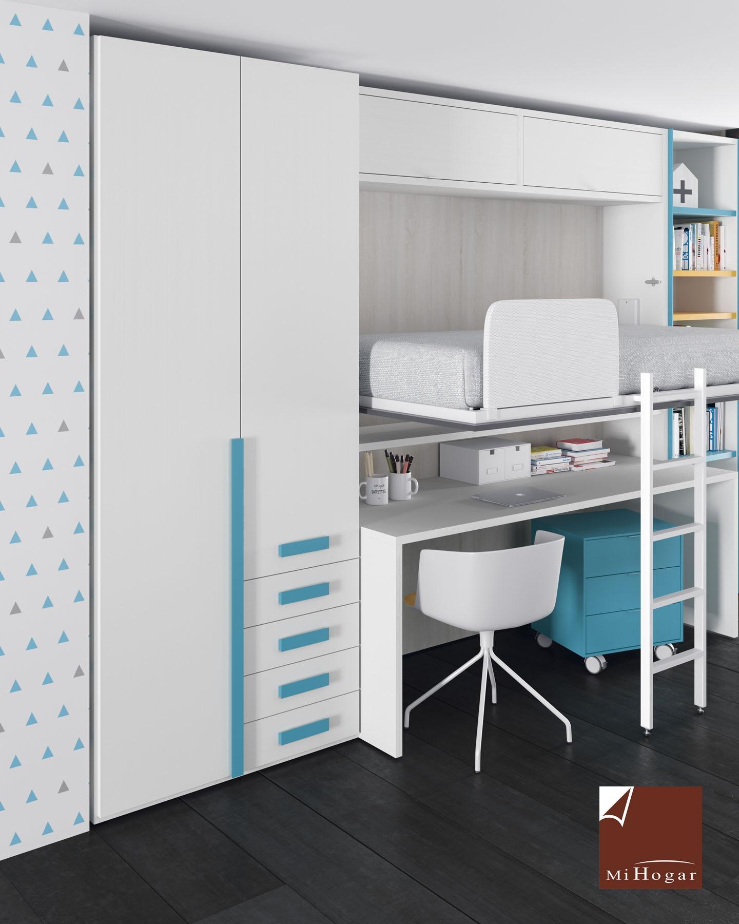 Cama abatible horizontal superior con nido abajo mesa o for Dormitorios con cama de 105