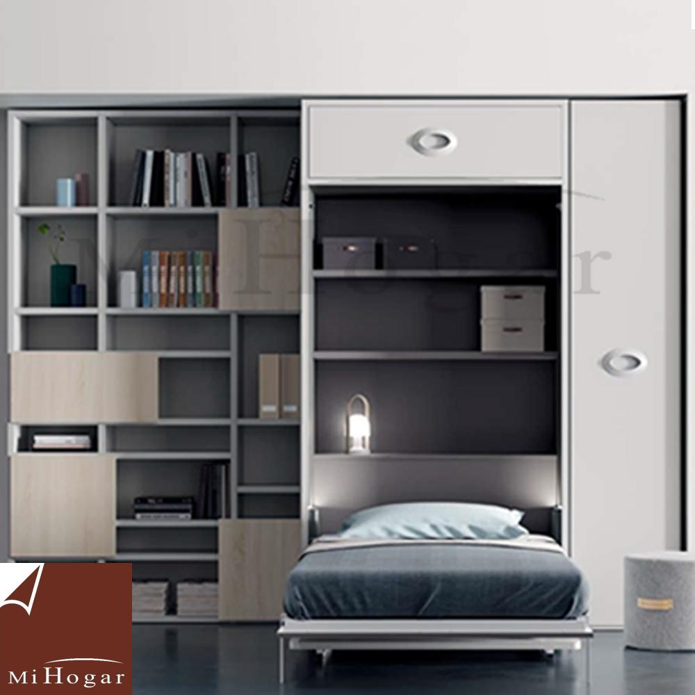 Cama abatible vertical con o sin mesa de estudio muebles for Cama juvenil con escritorio