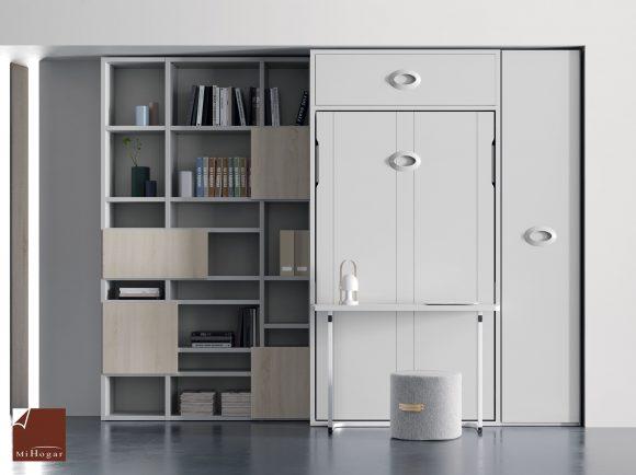 cama abatible vertical con escritorio articulado estanteria asimetrica con puertas dormitorio juvenil TMB