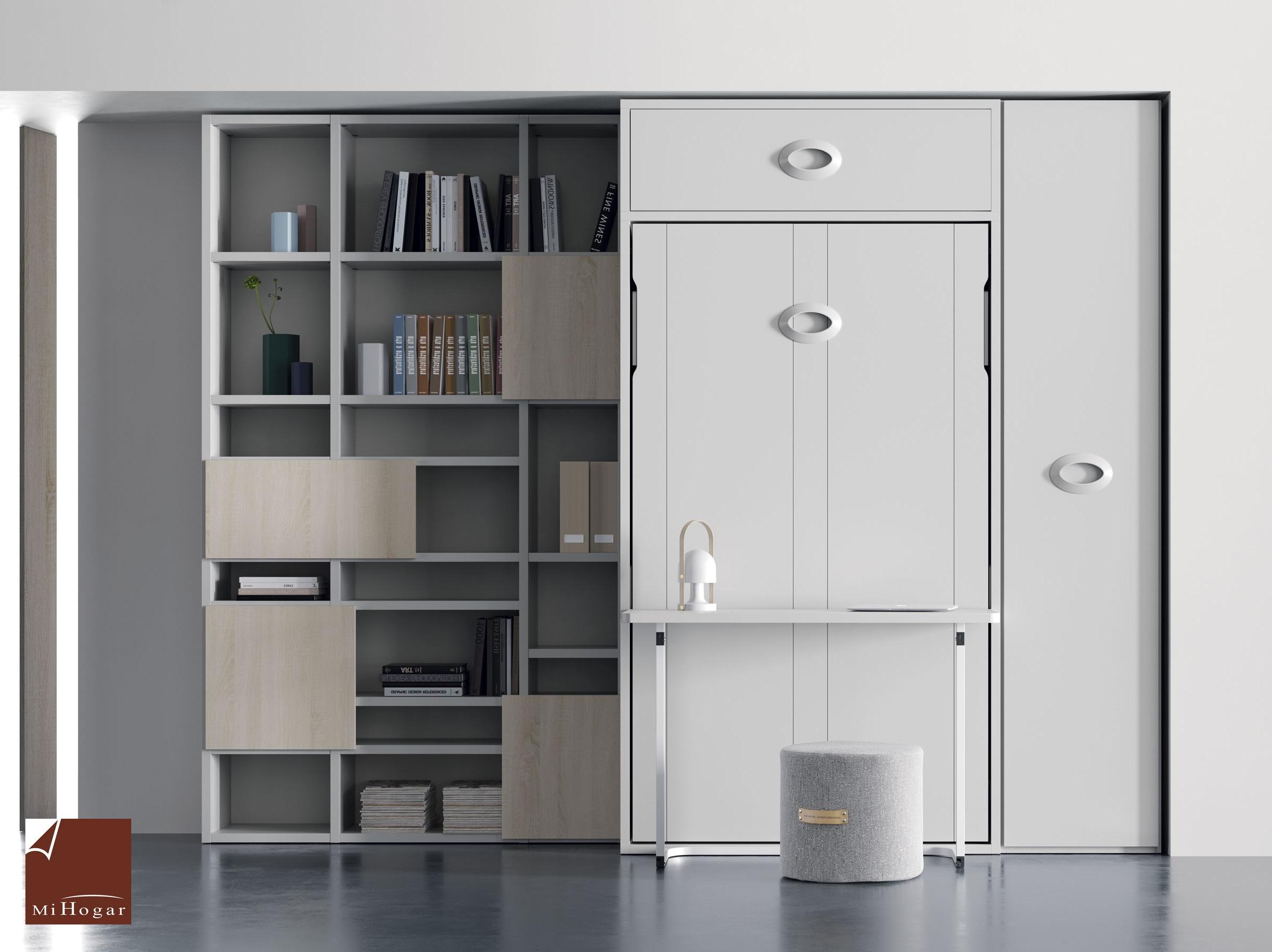 Cama abatible vertical con o sin mesa de estudio muebles for Mueble juvenil cama abatible
