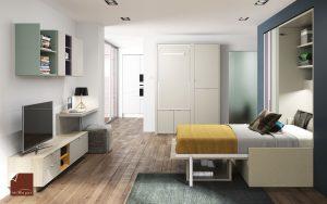 cama abatible vertical abierta con sofa- mesa abatible con estanterias-mesa tv dormitorio juvenil TMB