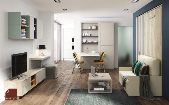 cama abatible vertical con sofa- mesa abatible abierta ochenta con estanterias-mesa tv dormitorio juvenil TMB