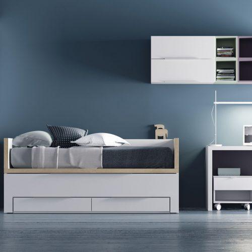 cama compacto colchones iguales armario mesa dormitorio juvenil TMB