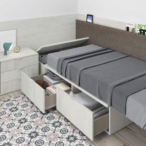 cama con cajones arcon trasera dormitorio juvenil TMB