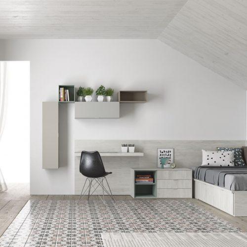 cama con cajones y arcon mesa suspendida modulos colgados dormitorio juvenil TMB