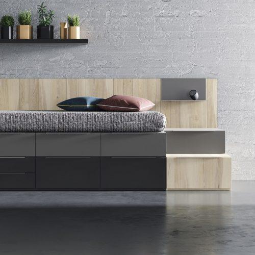 cama de cajones apilables con mesa suspendida dormitorio juvenil TMB