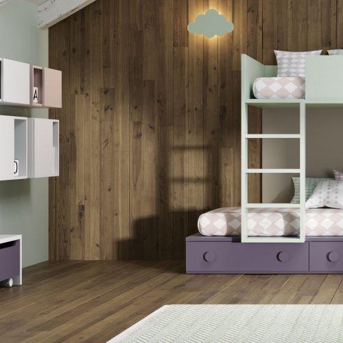 cama tren corta pequeña dormitorio juvenil TMB