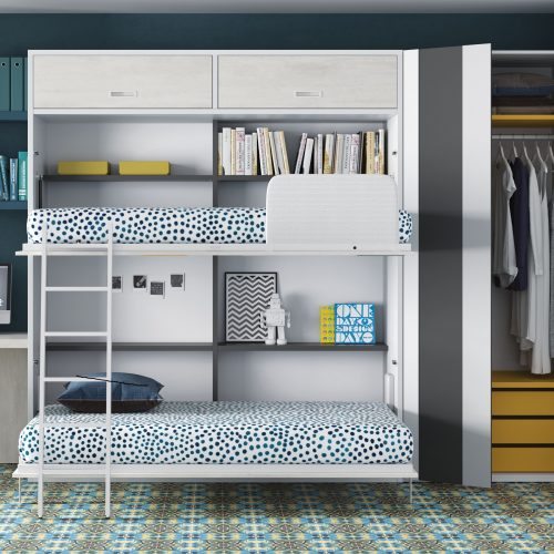litera abatible horizontal abierta con altillo cama superior abatible facilita hacer la cama dormitorio juvenil TMB