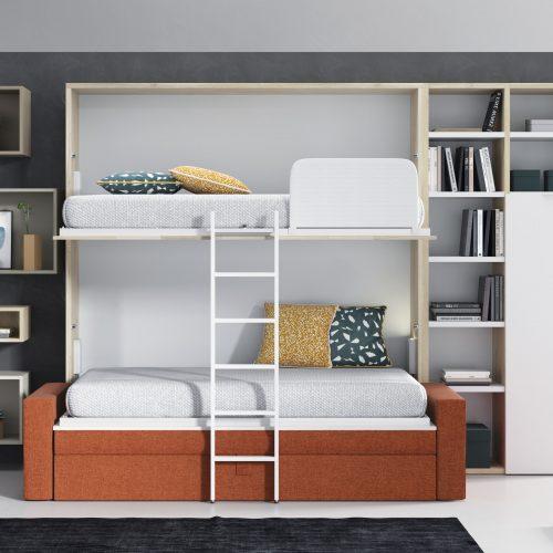 litera abatible horizontal abierta con sofa brazo ancho estanterias con puertas dormitorio juvenil TMB