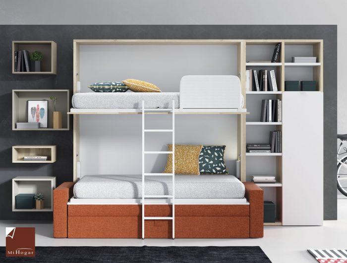Cama abatible horizontal con sofa tmb muebles mi hogar - Literas abatibles conforama ...