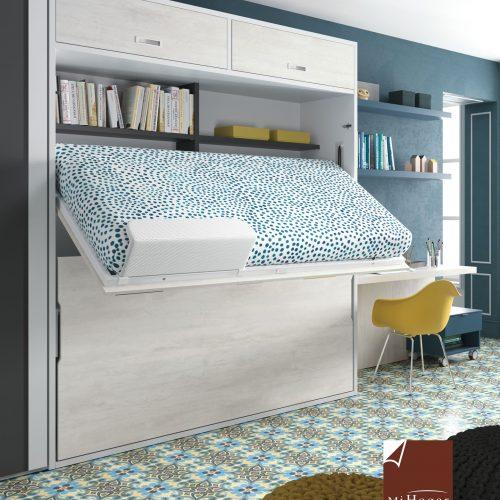litera abatible horizontal con altillo cama superior abierta abatible facilita hacer la cama dormitorio juvenil TMB
