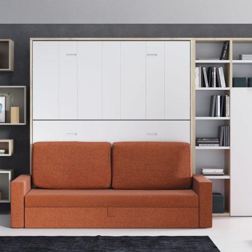 litera abatible horizontal con sofa brazo ancho estanterias con puertas dormitorio juvenil TMB