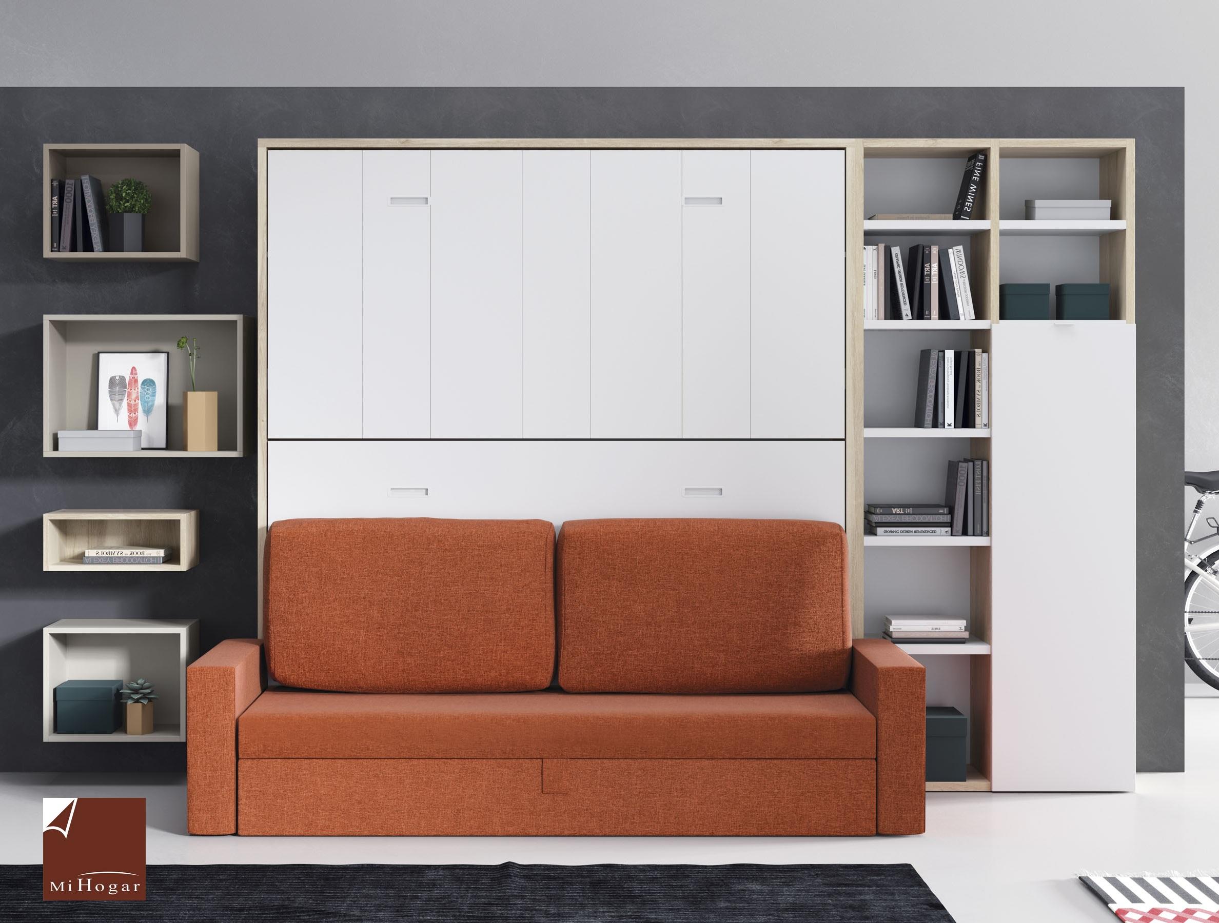 Cama abatible horizontal con sofa tmb muebles mi hogar - Estanterias con puertas ...