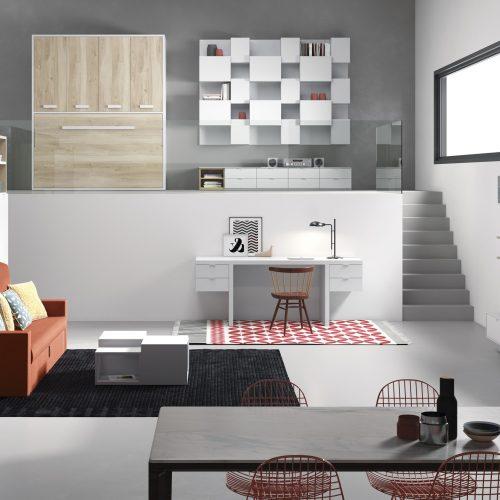 litera abatible horizontal con sofa mueble tv escritorio mesa tv escritorio dormitorio juvenil TMB
