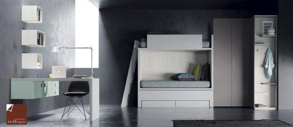 litera con compacto con armario doble fondo dormitorio juvenil TMB