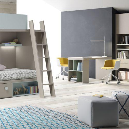 litera modular con armario estanterias con puertas dormitorio juvenil TMB