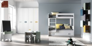 literas tres camas tita 2 camas- con armario-con cajones y mesa dormitorio juvenil TMB