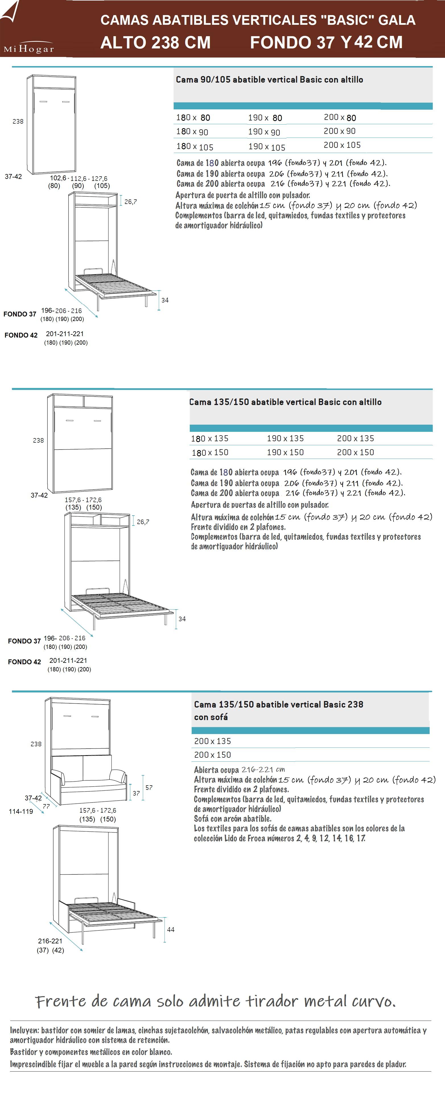 medidas de camas abatibles verticales basic fondo 37 y 42 alto 238 gala