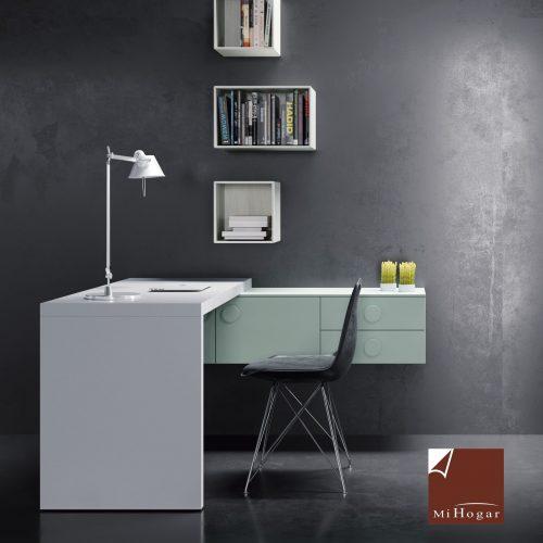 mesa con apoyo en módulos colgados dormitorio juvenil TMB