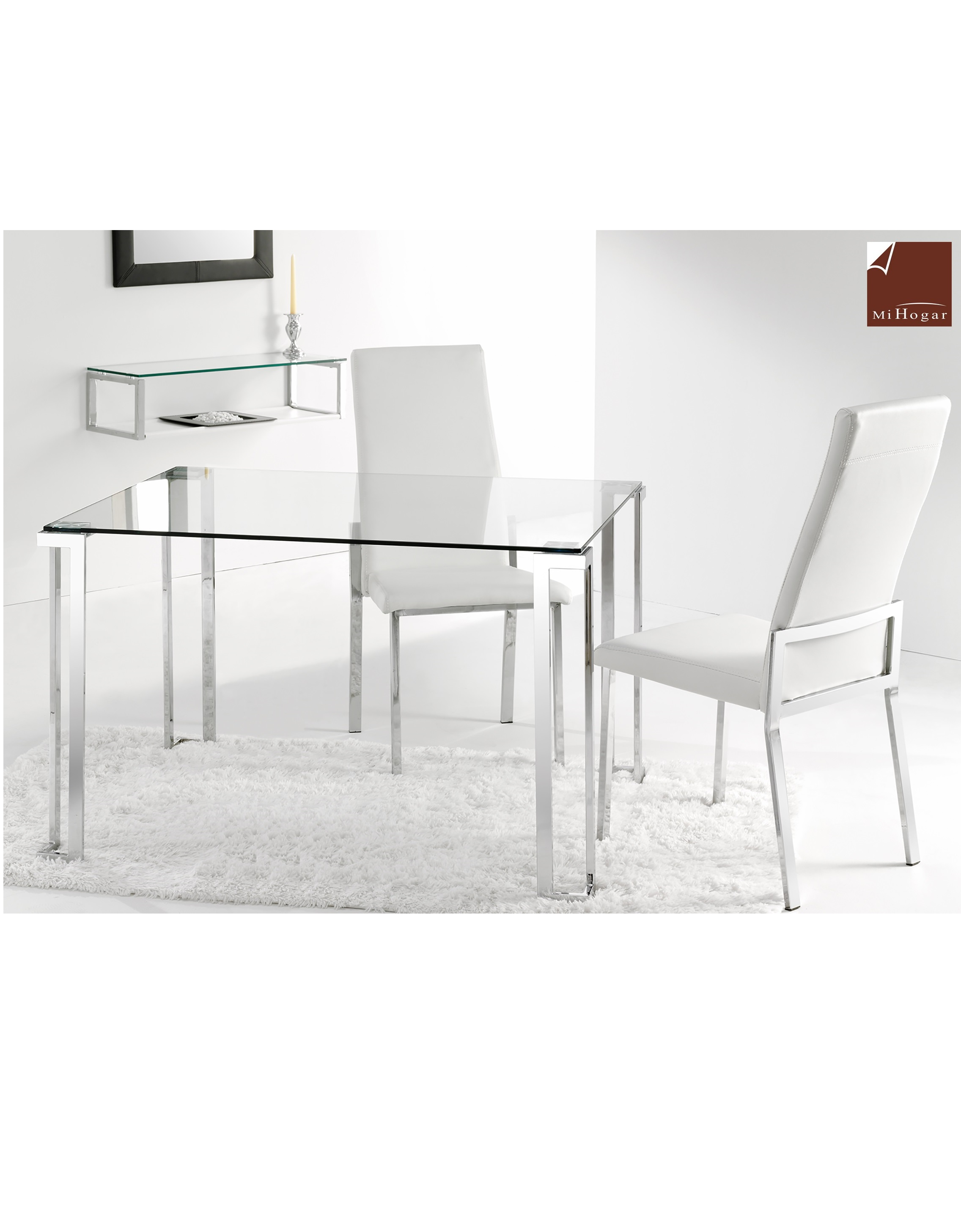 Mesa cristal atenas muebles mi hogar - Mesas estudio cristal ...