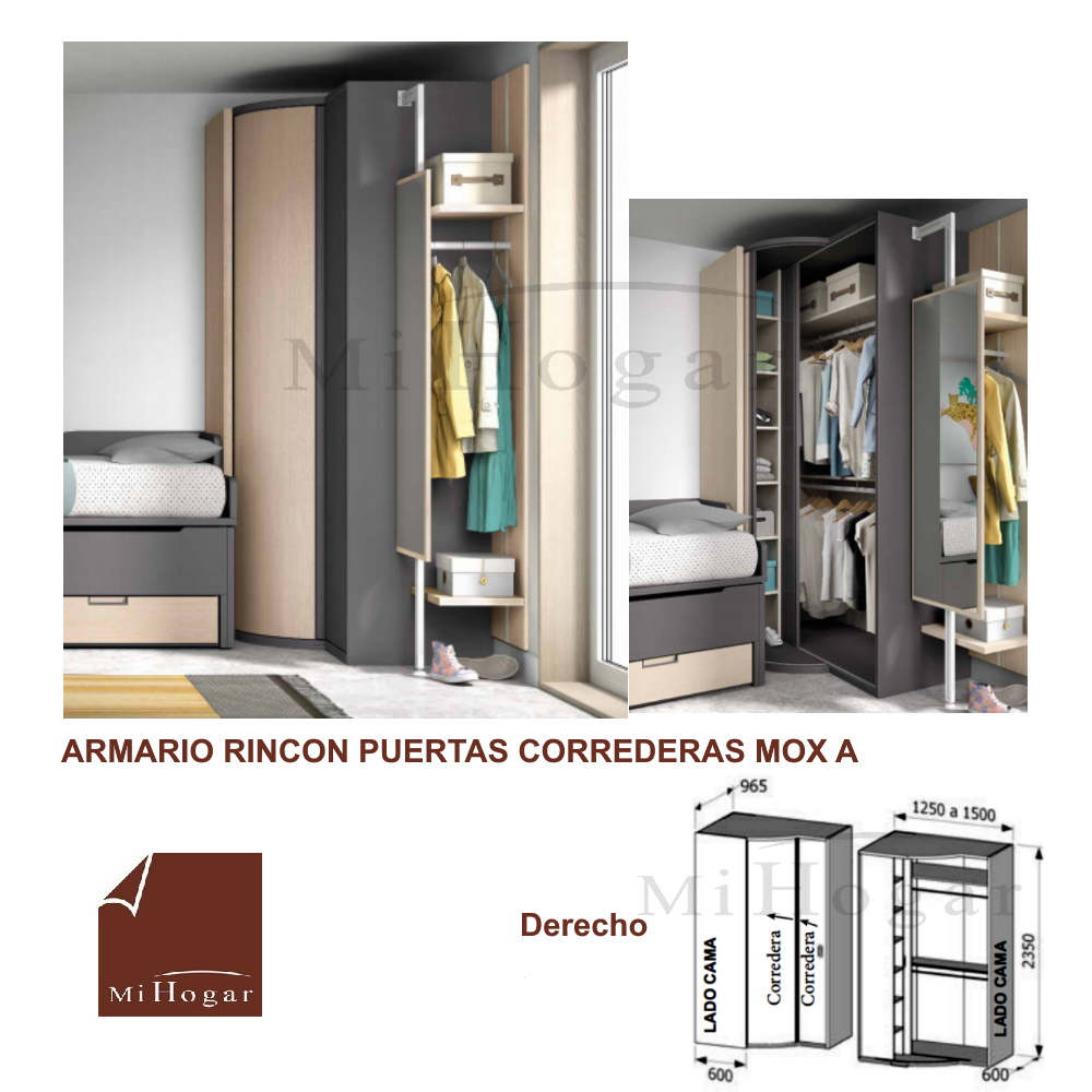 Armario rinc n puertas correderas mox muebles mi hogar for Armarios para dormitorios juveniles