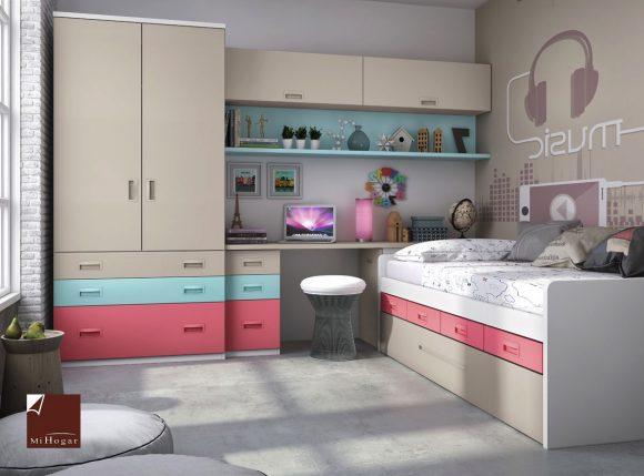 cama compacto con armario puertas batientes y cajones gala